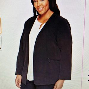 Vince Camuto plus size open front blazer in black
